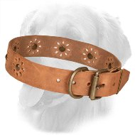 Flower Design Leather Golden Retriever Collar with Studs and Punched Holes