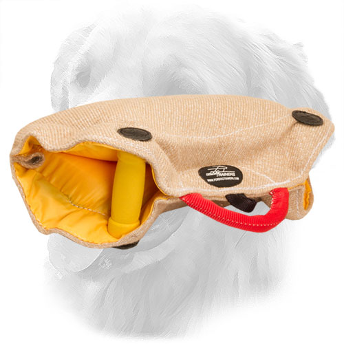 Eco-Friendly Jute Golden Retriever Bite Builder with Inside Handles