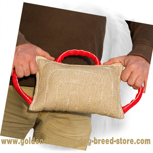 Jute Golden Retriever Bite Pad with Three Comfortable Handles