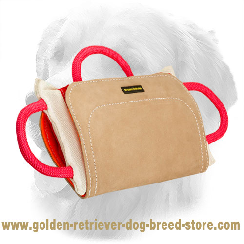 Pro Golden Retriever Bite Pillow with Leather Cover