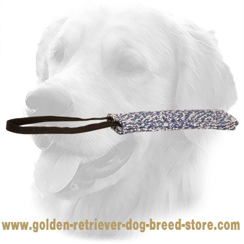Long Golden Retriever Bite Tug with One Handle