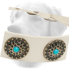 Decorative Circles on White Leather Golden Retriever Collar