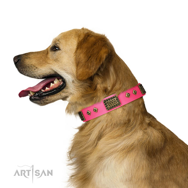Stylish design full grain genuine leather collar for your beautiful pet
