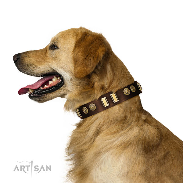 Reliable buckle on full grain leather dog collar for fancy walking