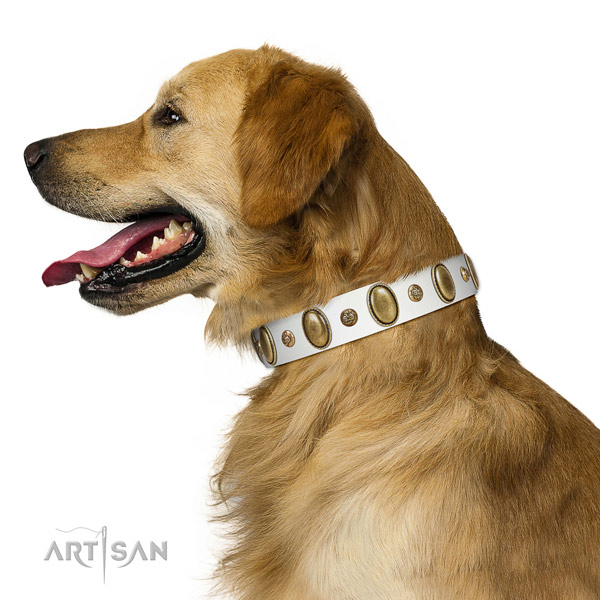 Walking soft natural genuine leather dog collar with decorations