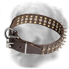 Wide Leather Golden Retriever Collar with Reliable Buckle