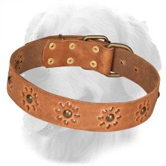 Leather Golden Retriever Collar with Punched Flowers