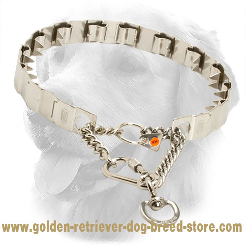 Neck Tech Stainless Steel Golden Retriever Prong Collar for Dog Training