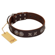 """Antique Style"" Designer Handmade FDT Artisan Brown Leather Golden Retriever Collar"