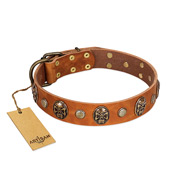 """Call of Feat"" FDT Artisan Tan Leather Golden Retriever Collar with Old Bronze-like Studs and Oval Brooches"