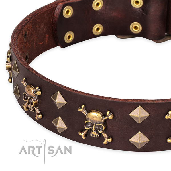 Comfortable wearing studded dog collar of high quality genuine leather