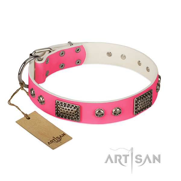 Easy adjustable full grain genuine leather dog collar for walking your canine