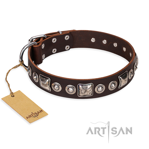 Leather dog collar made of soft to touch material with reliable fittings