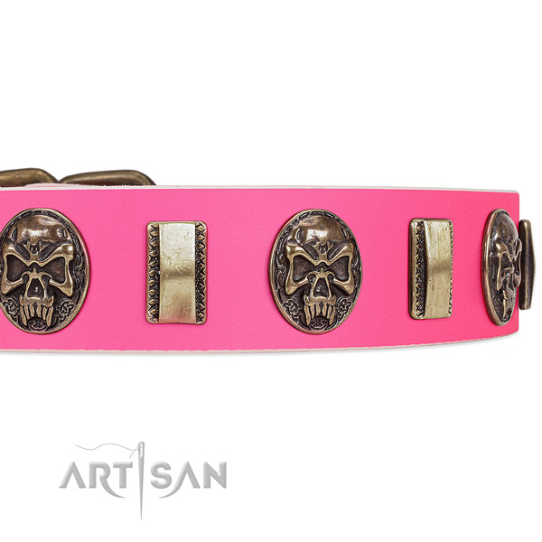 Strong hardware on natural genuine leather dog collar for your dog