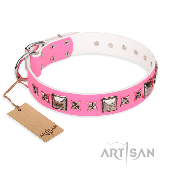 Leather dog collar made of reliable material with rust-proof buckle
