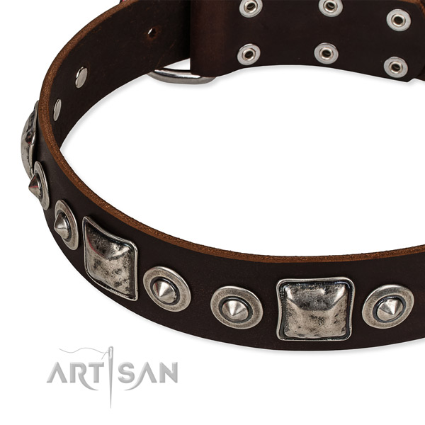 Full grain natural leather dog collar made of soft to touch material with embellishments