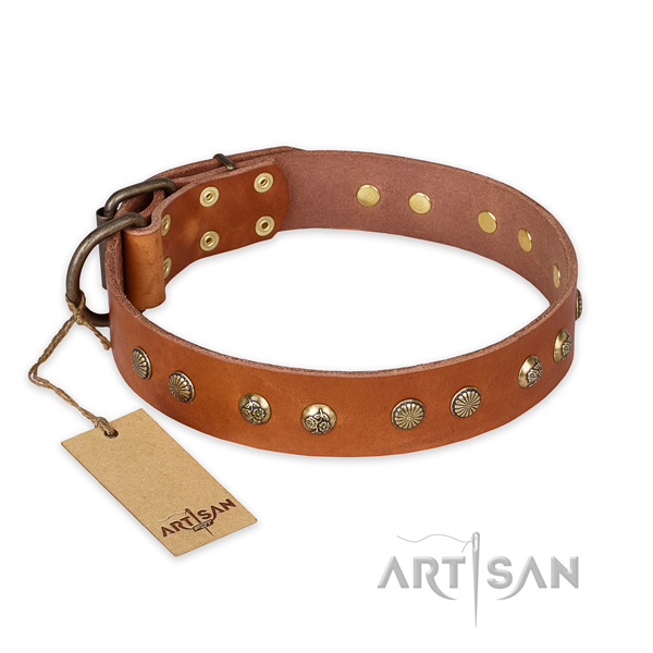 Incredible full grain genuine leather dog collar with reliable D-ring