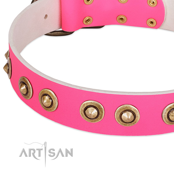 Corrosion proof hardware on genuine leather dog collar for your canine