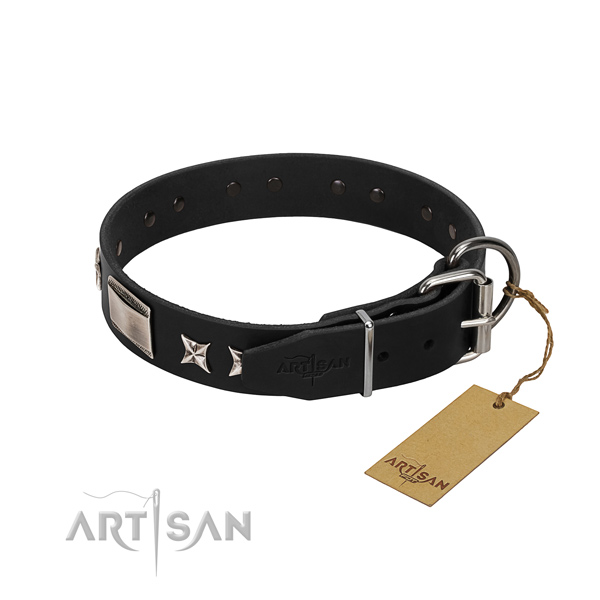 Top notch full grain leather dog collar with reliable hardware