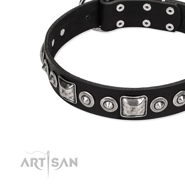 Leather dog collar made of top notch material with studs