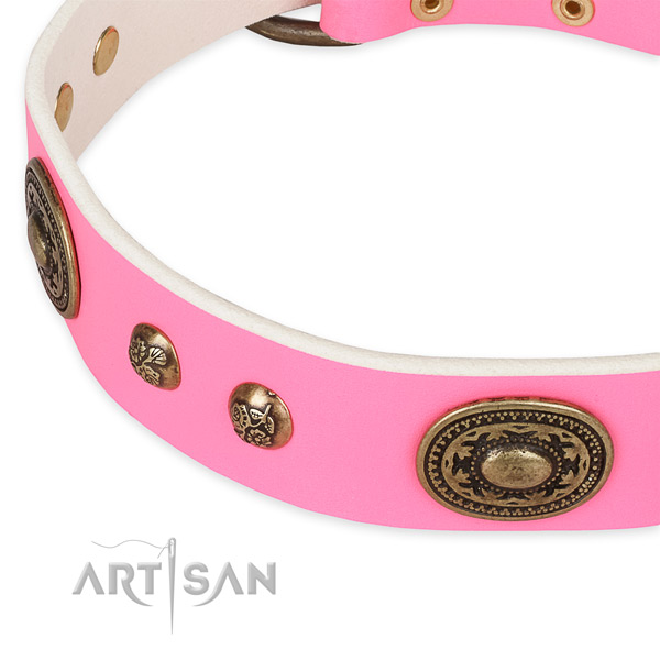 Fashionable full grain natural leather collar for your attractive four-legged friend