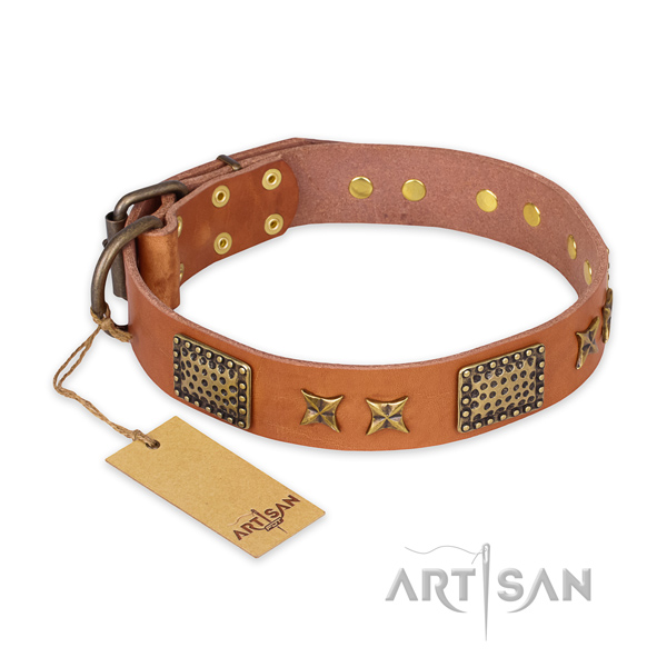 Adjustable natural genuine leather dog collar with rust resistant D-ring