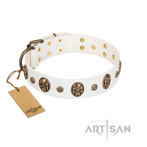 Easy to adjust genuine leather collar for your canine
