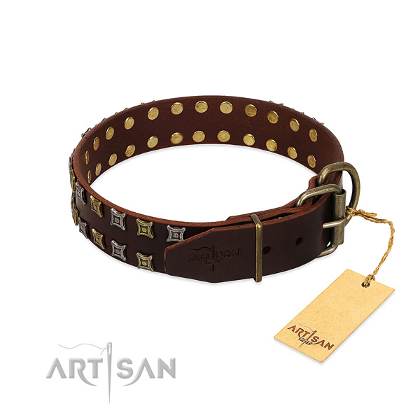 Flexible full grain leather dog collar created for your pet