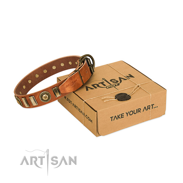 Best quality natural leather dog collar with strong D-ring