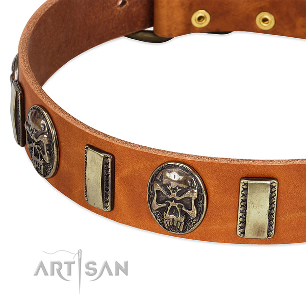 Corrosion resistant D-ring on full grain natural leather dog collar for your pet