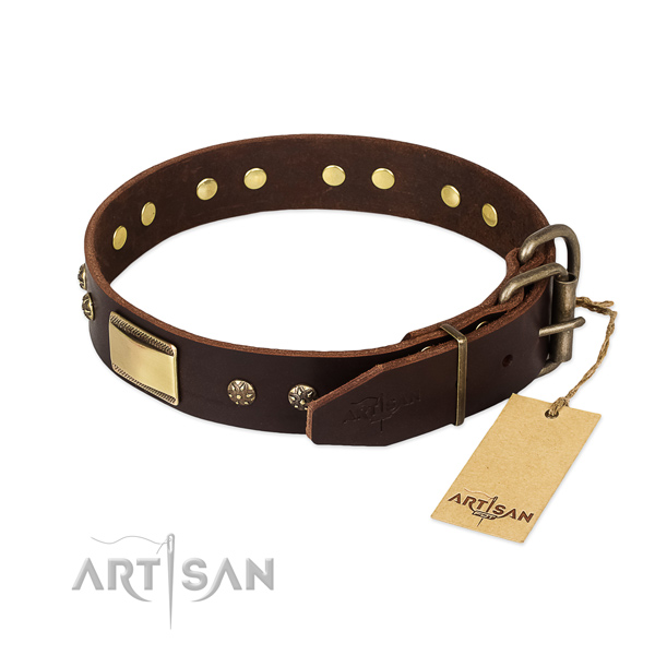 Fashionable full grain leather collar for your doggie