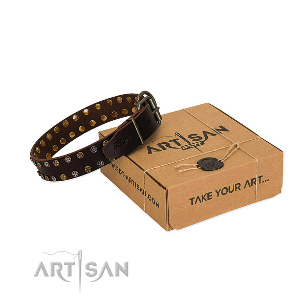 Easy wearing soft to touch full grain genuine leather dog collar with decorations