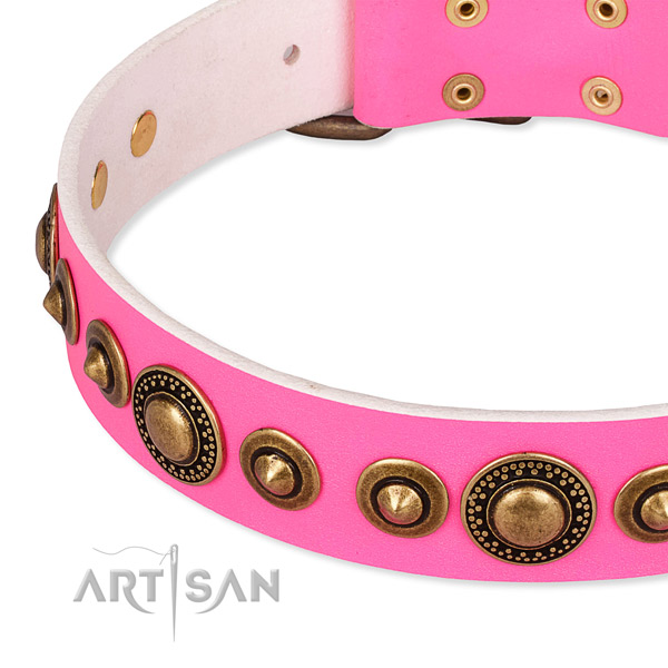 Top rate natural genuine leather dog collar made for your attractive pet