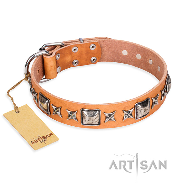 Handy use dog collar of strong full grain genuine leather with decorations