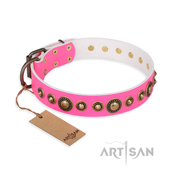 Top rate natural genuine leather collar crafted for your four-legged friend