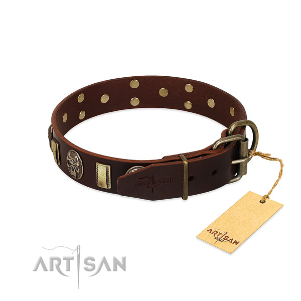 Leather dog collar with corrosion resistant D-ring and adornments