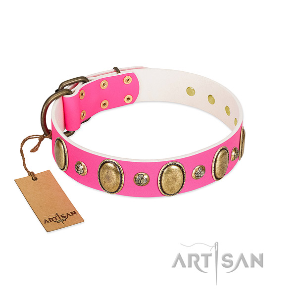 Easy wearing gentle to touch natural genuine leather dog collar with adornments