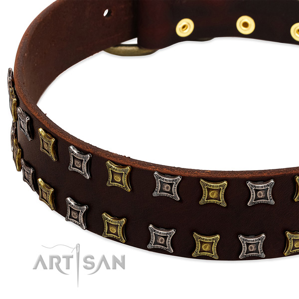 Durable genuine leather dog collar for your stylish doggie