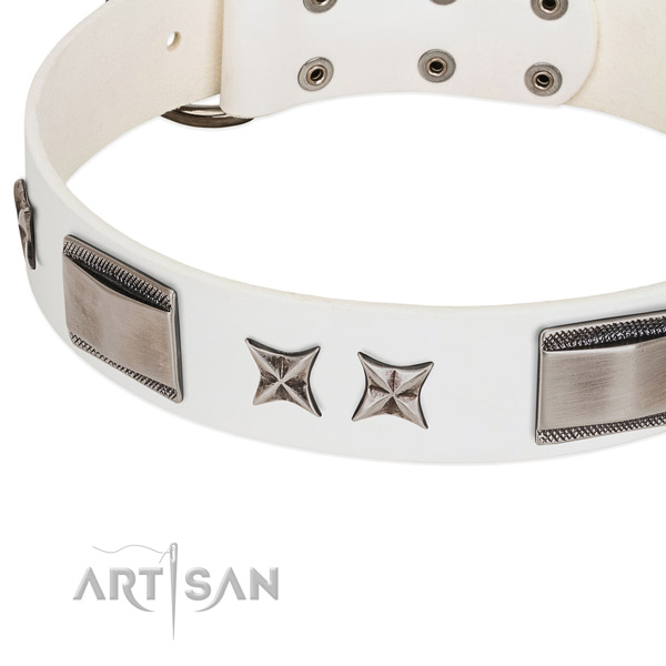 Reliable full grain genuine leather dog collar with reliable D-ring