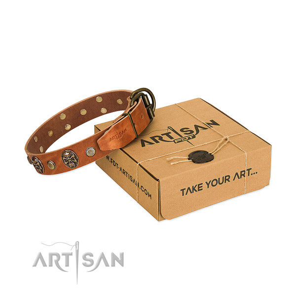 Strong hardware on natural genuine leather dog collar for comfortable wearing