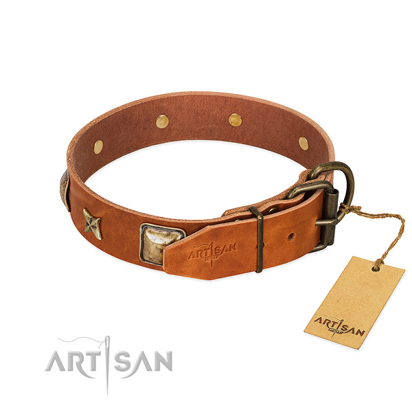 Natural genuine leather dog collar with durable traditional buckle and decorations