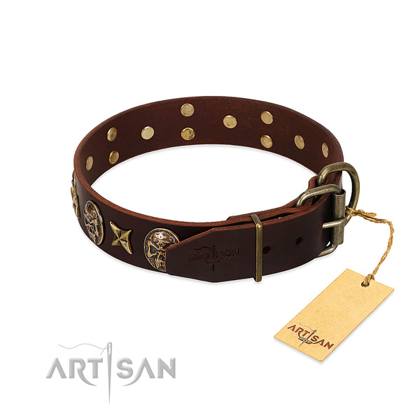 Genuine leather dog collar with rust resistant fittings and embellishments