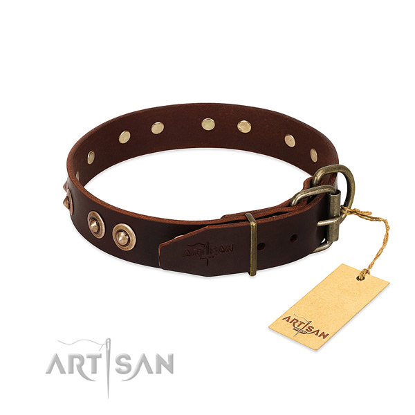 Corrosion resistant hardware on full grain genuine leather dog collar for your pet