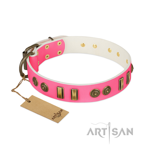 Perfect fit full grain leather collar for your canine