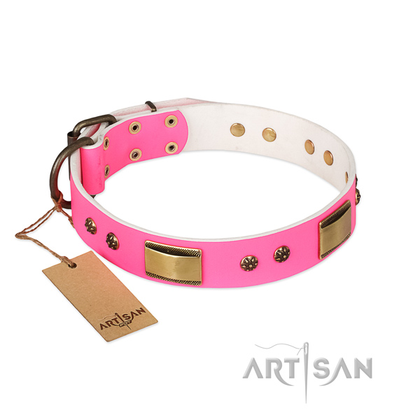 Designer natural genuine leather collar for your dog