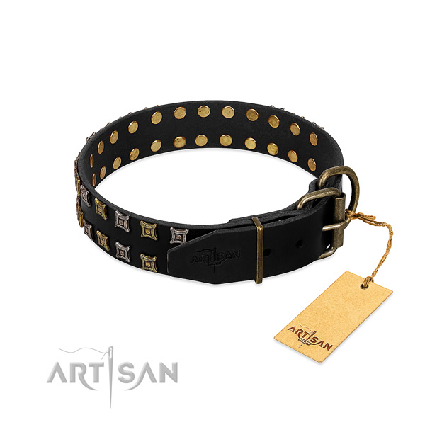 Soft genuine leather dog collar handmade for your doggie