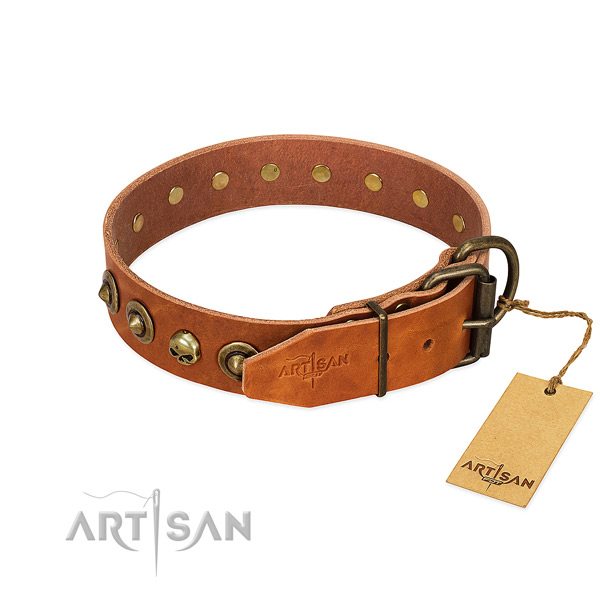 Full grain leather collar with stylish decorations for your pet