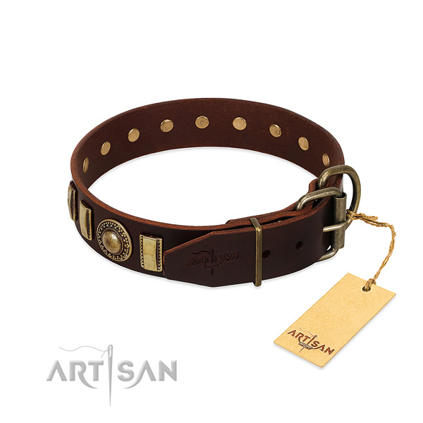 Exquisite full grain genuine leather dog collar with corrosion proof traditional buckle
