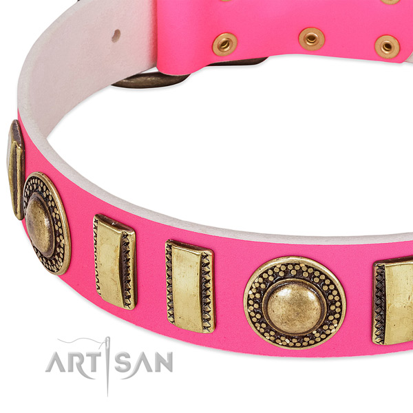 Gentle to touch genuine leather dog collar for your stylish pet