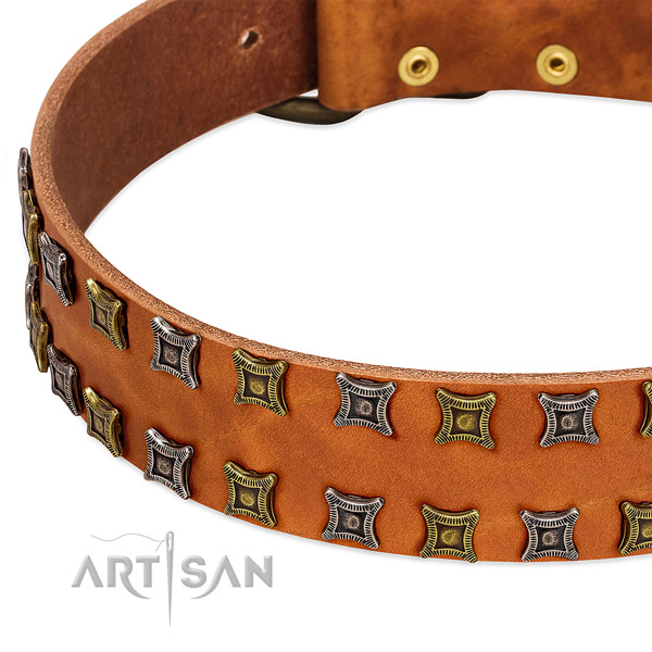 Soft genuine leather dog collar for your handsome dog